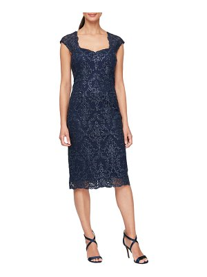 Alex Evenings sequin embroidery cocktail sheath dress