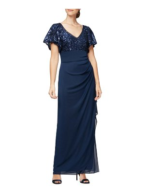 Alex Evenings sequin lace & ruched chiffon gown