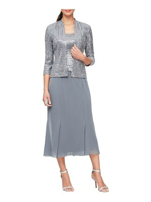 Alex Evenings sequin mock two-piece midi dress with jacket