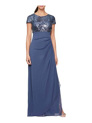 Alex Evenings sequin ruched chiffon column gown