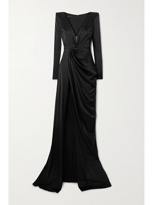 Alex Perry bentley draped silk-blend satin gown