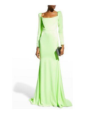 Alex Perry Brant Strong-Shoulder Corset Gown