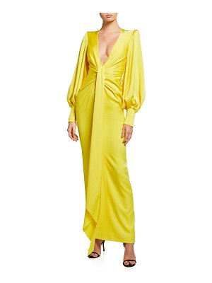 Alex Perry Dane Gathered Draped Column Gown