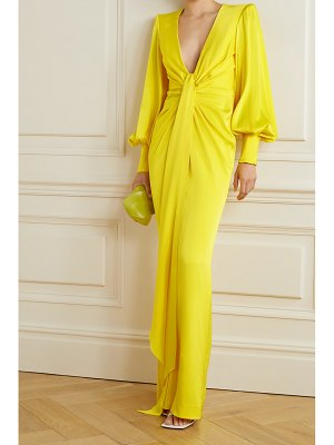 Alex Perry dane gathered draped satin-crepe gown