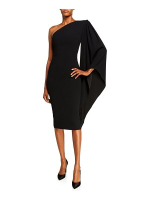 Alex Perry Finley One-Sleeve Cape-Sleeve Dress