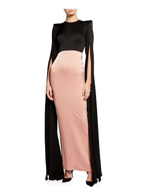 Alex Perry Julian Bicolor Satin Cape-Sleeve Gown