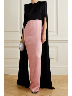 Alex Perry julian two-tone cape-effect satin-crepe gown