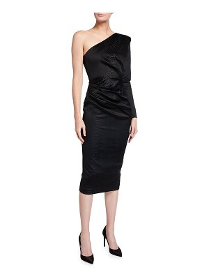 Alex Perry Kendra Reptile Satin One-Shoulder Dress