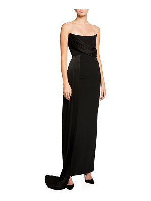 Alex Perry Kirby Strapless Crepe Column Draped Gown