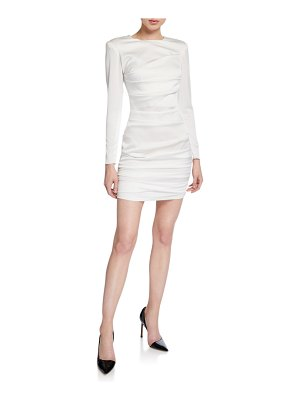 Alex Perry Ruched-Satin Mini Blazer Dress