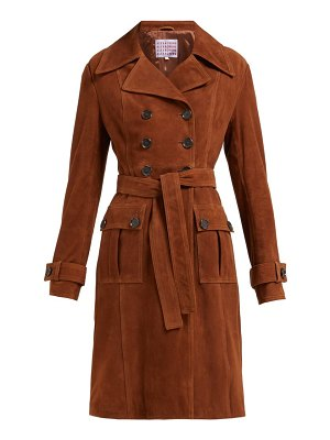 ALEXACHUNG belted double breasted suede coat