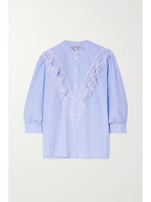 ALEXACHUNG cecily lace-trimmed striped cotton-poplin blouse