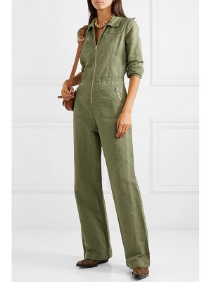 ALEXACHUNG cropped cotton and linen-blend drill jumpsuit