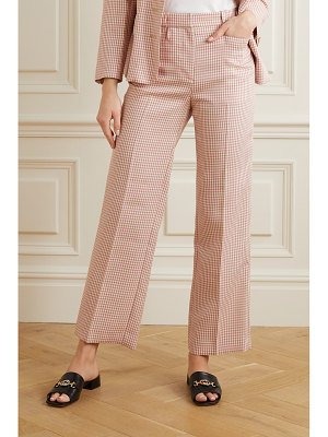 ALEXACHUNG cropped houndstooth woven straight-leg pants