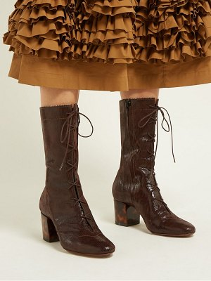 ALEXACHUNG forever lace up lizard effect suede boots