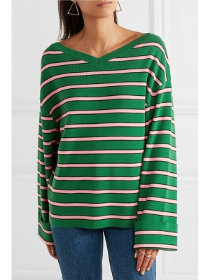 ALEXACHUNG oversized striped wool and cotton-blend sweater
