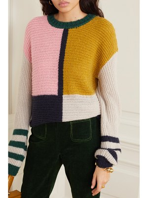 ALEXACHUNG patchwork knitted sweater