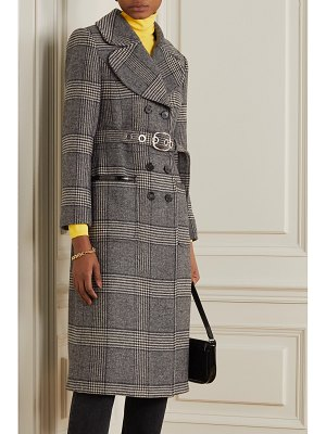ALEXACHUNG penelope faux patent leather-trimmed prince of wales checked tweed coat