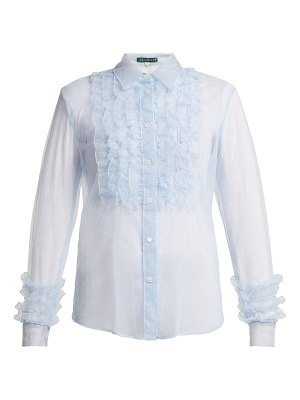 ALEXACHUNG Ruffle Front Tulle Blouse