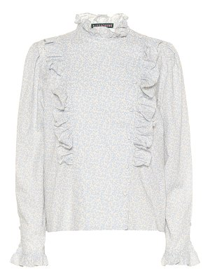 ALEXACHUNG ruffle-trimmed floral cotton blouse