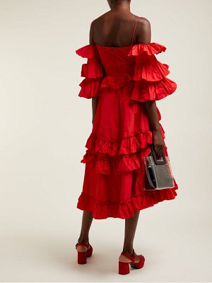 ALEXACHUNG tiered ruffle off the shoulder midi dress