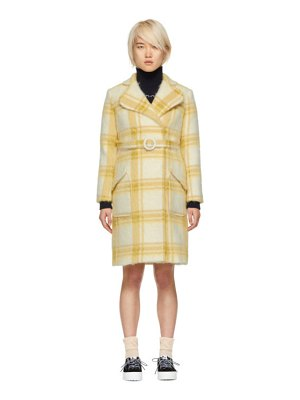 ALEXACHUNG & Yellow Check Mohair Belted Coat