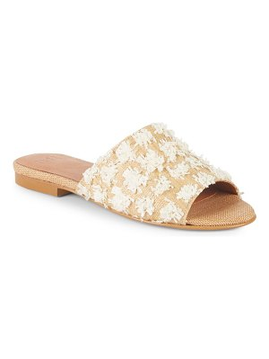 ALEX+ALEX Raffia & Pom-Pom Slider Sandals