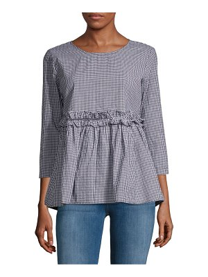 Alexander Jordan Gingham Ruffled Cotton Top