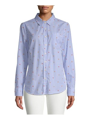 Alexander Jordan Striped Long-Sleeve Cotton Button-Down Shirt