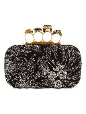 Alexander McQueen 4-ring embellished leather clutch