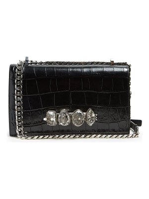 Alexander McQueen knuckle crocodile effect leather cross body bag