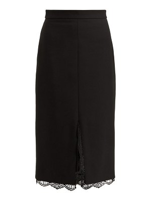 Alexander McQueen Alexander Mcqueen - Lace Trimmed Wool Blend Pencil Skirt