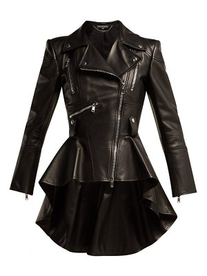 Alexander McQueen peplum leather biker jacket