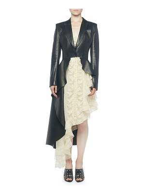 Alexander McQueen Asymmetric Leather Peplum Jacket