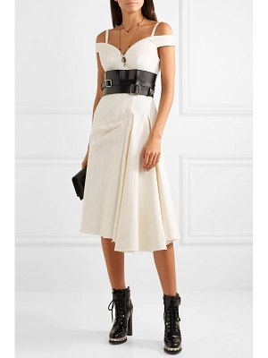 Alexander McQueen asymmetric off-the-shoulder denim midi dress
