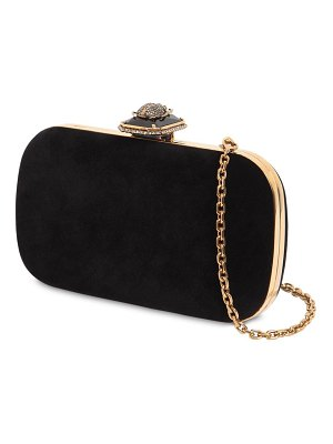 Alexander McQueen Beetle on stone velvet clutch