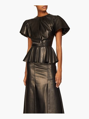 Alexander McQueen bell sleeve peplum leather midi dress