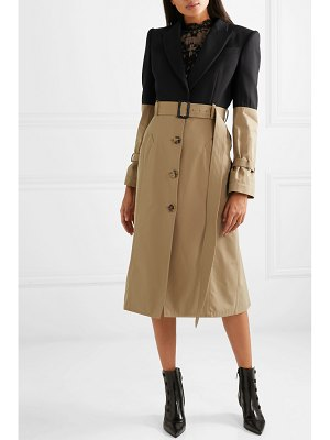 Alexander McQueen belted two-tone cotton coat