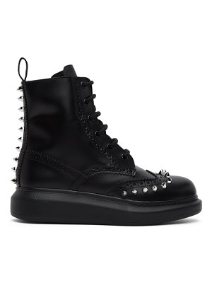 Alexander McQueen black stud leather hybrid brogue boots