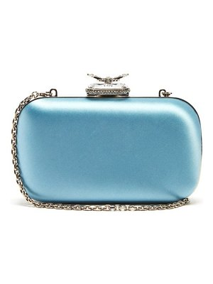 Alexander McQueen butterfly crystal embellished satin clutch