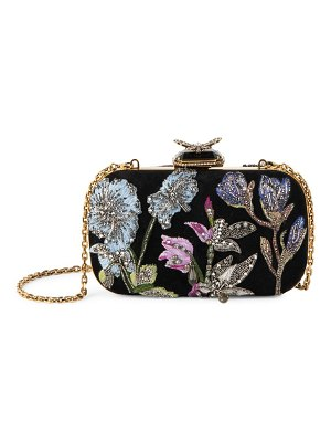 Alexander McQueen butterfly embroidered leather box clutch