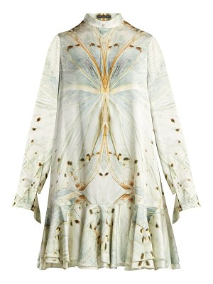 Alexander McQueen butterfly print silk mini dress