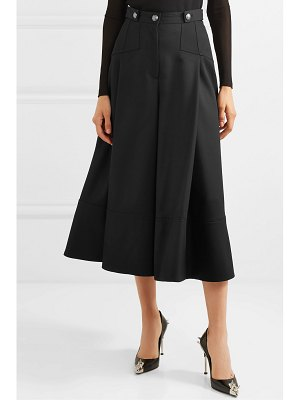 Alexander McQueen button-embellished pleated wool-crepe culottes