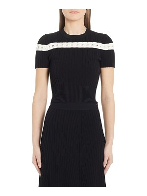 Alexander McQueen contrast stripe ribbed crop sweater