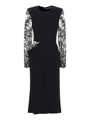 Alexander McQueen Crêpe midi dress with lace