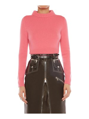 Alexander McQueen Cropped Long-Sleeve Cashmere Top