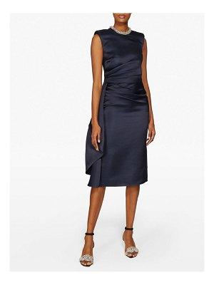Alexander McQueen crystal embellished ruched silk knee length dress