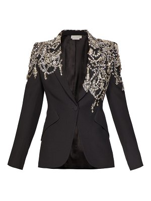 Alexander McQueen crystal embellished single breasted crepe blazer