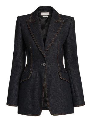 Alexander McQueen denim one-button jacket