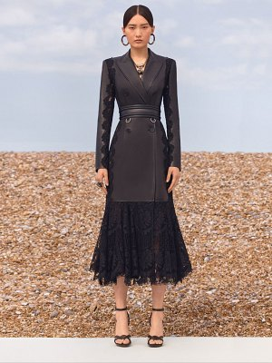 Alexander McQueen Double breast leather & lace long coat